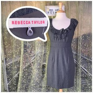 LIKE NEW REBECCA TAYLOR GRAY WHITE PIN STRPE DRESS